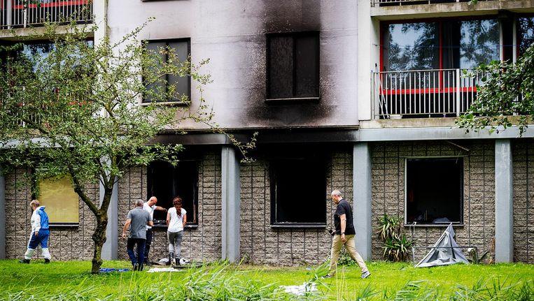 In de flat aan de Rode Kruislaan in Diemen woedde in de nacht van 18 op 19 juli een felle brand Beeld anp