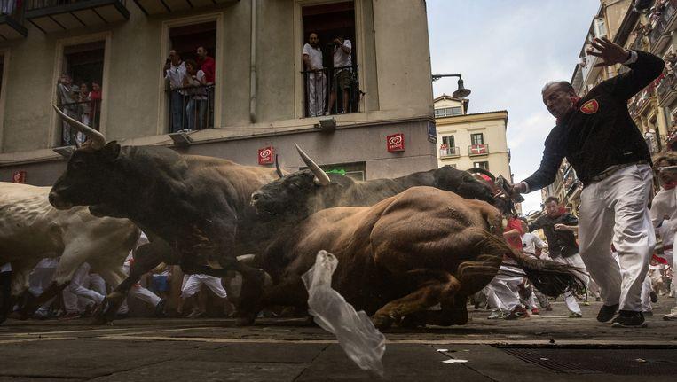 Archieffoto van de voorbije stierenlopen in Pamplona, juli 2015.