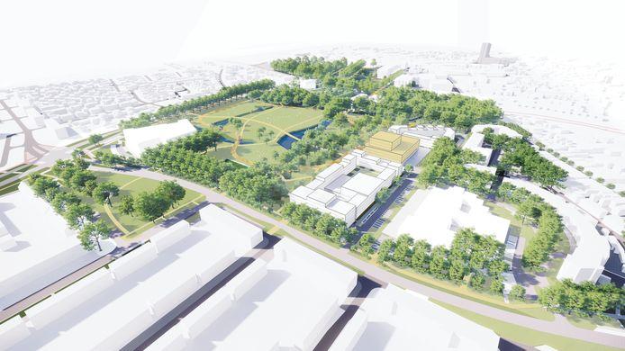 Een impressie van het Slotjesveld van de toekomst. Met rechts de gebouwen. In het geel de locatie van het nieuwe stadhuis.