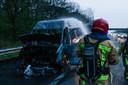 Busje in brand op de A67.