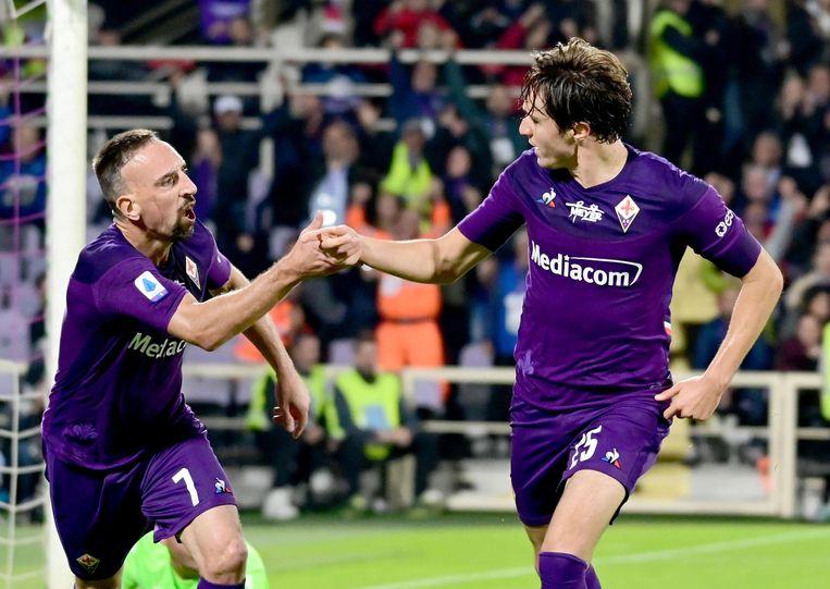 Chiesa en Ribéry vieren de gelijkmaker voor de Florentijnen.