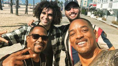 De opnames van 'Bad Boys' worden duidelijk plezant: Adil en Bilall nemen selfies met Will Smith en Martin Lawrence