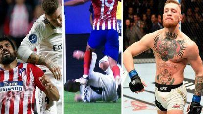 'Love him or hate him', maar met Sergio Ramos is het nooit saai: elleboog bij Diego Costa die zich revancheert, na z'n goal waant hij zich even Conor McGregor