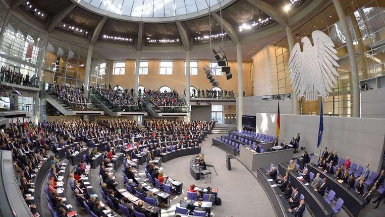 De Duitse Bondsdag in nieuwe samenstelling voor het eerst bijeen sinds de verkiezingen. Beeld ANP