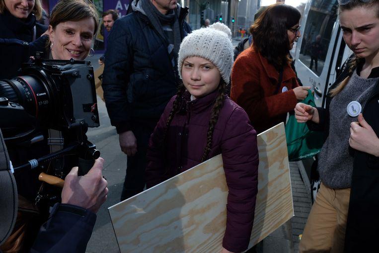 Greta Thunberg neemt deel aan de zevende klimaatmars in Brussel.