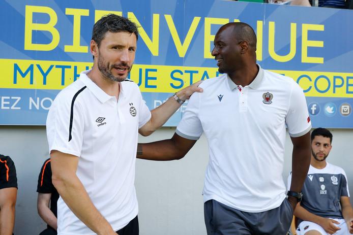 Mark van Bommel en Patrick Vieira, hoofdtrainers van PSV en OGC Nice.