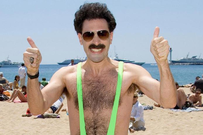 Cohen in zijn rol als Borat uit 2006. Naar eigen zeggen op het toppunt van zijn 'gay-ness'.