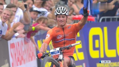Mathieu van der Poel domineert EK mountainbike, ondanks val in openingsronde