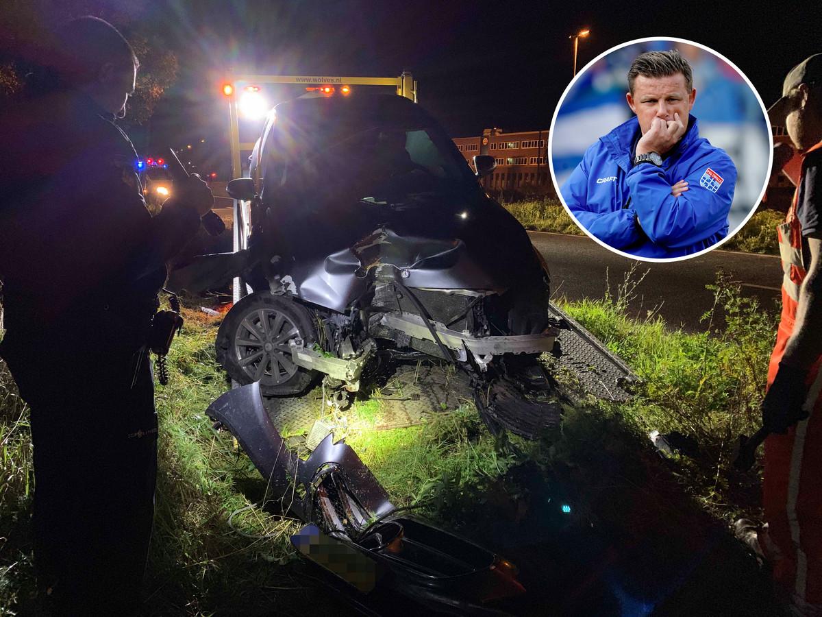 Bij het ongeluk reed Stegeman (inzet) zijn lease-auto total loss.
