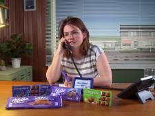 In de paarse chocoladereep zit wel melk, maar niet van de alpenkoe