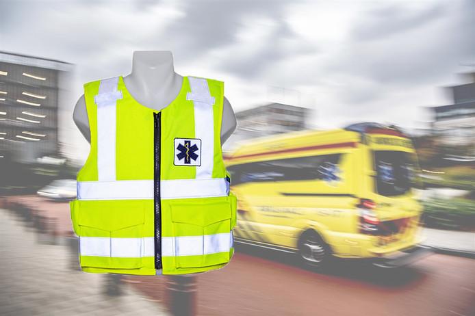 Voorbeeld van een kogelwerend vest voor ambulancepersoneel. Het ontwerp van de vesten voor de Limburgse ambulancemedewerkers is nog niet vrijgegeven.