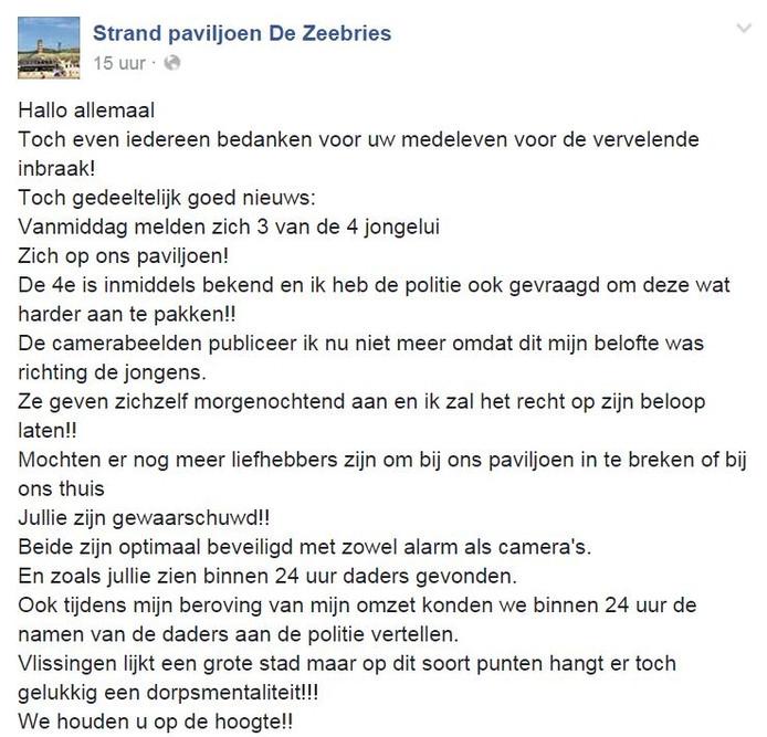 facebookbericht zeebries