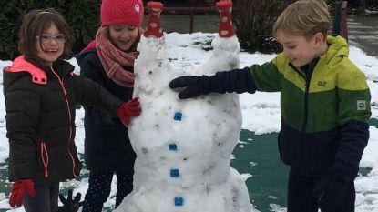 Kinderen De Regenboog zetten sneeuwman op z'n kop