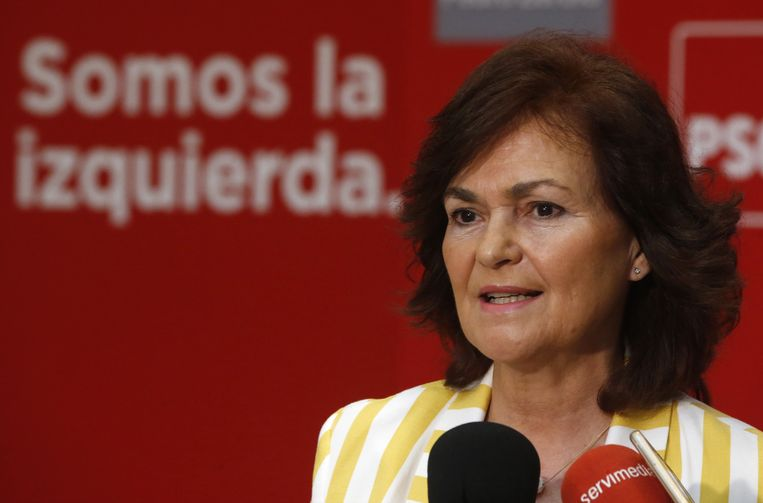 De nieuwe vicepremier Carmen Calvo. Beeld EPA