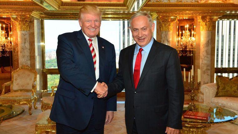 Donald Trump samen met Benjamin Netanyahu. Beeld anp