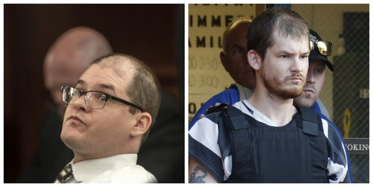 Timothy Jones Jr. gisteren in de rechtszaal en in 2014.