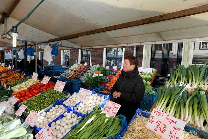 Groentekraam op de markt.