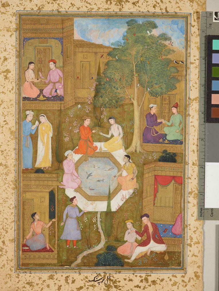 Zeven liefdesparen in een tuin, uit de Khamsa van Nava'i (1492), van Nizam al-Din Ali-Shir. Beeld RV
