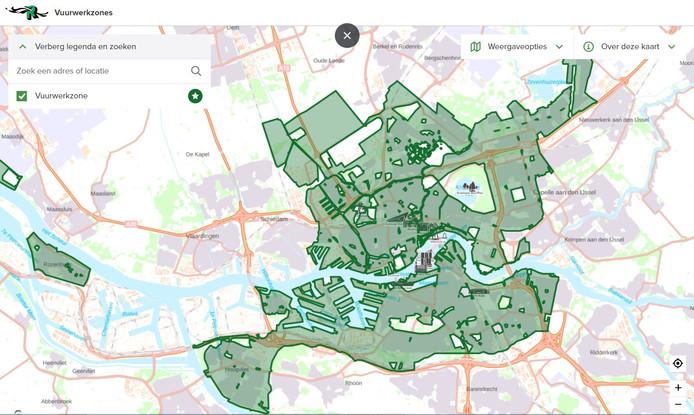 Op de digitale kaart is het nodig om in te zoomen om te zien waar het verbod uit de APV geldt en waar niet.