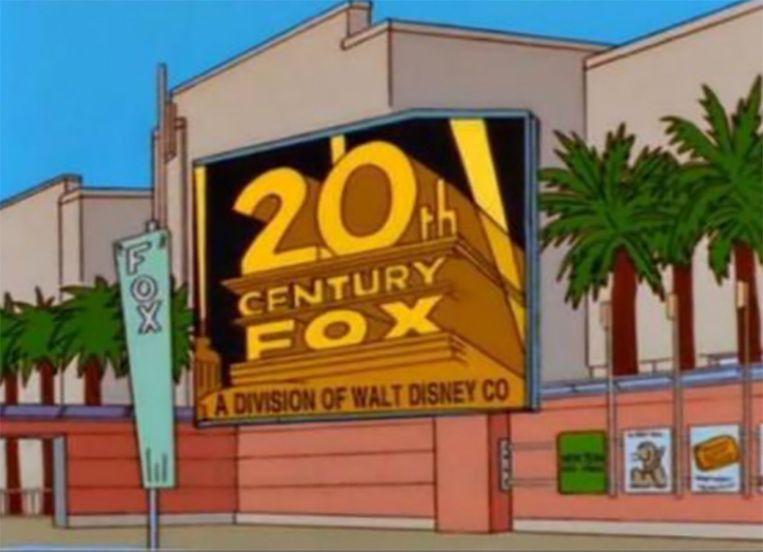 '21st Century Fox: a division of Walt Disney CO.' voorspelde 'The Simpsons' al in een aflevering die voor het eerst werd uitgezonden in november 1998.  Het beeld wordt druk gedeeld op Twitter.