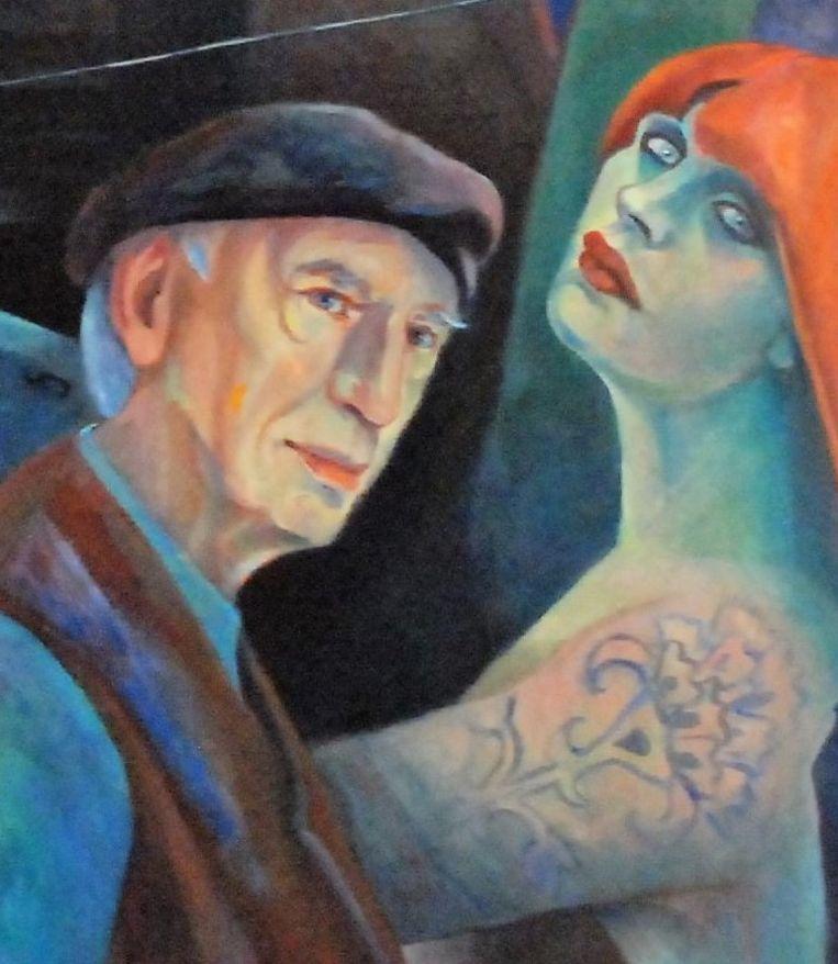 Uitsnede van het kunstwerk 'Het Laatste Avondmaal' met daarop haar zelfportret en een portret van haar grote liefde Willem Wagenaar. Beeld Jacoba Haas