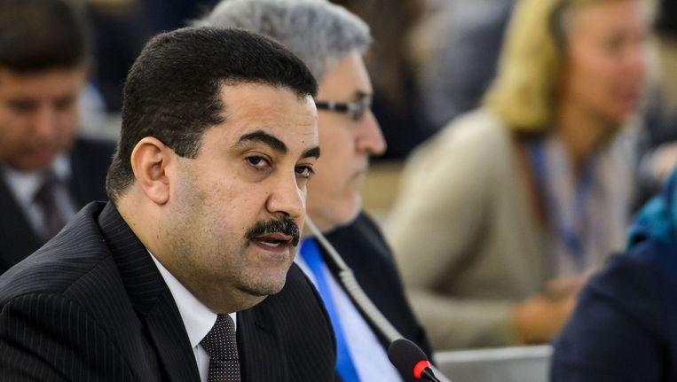 De Iraakse minister van mensenrechten Mohammed Sjia al-Soedani tijdens de spoedbijeenkomst van de Verenigde Naties in Genève. Beeld anp