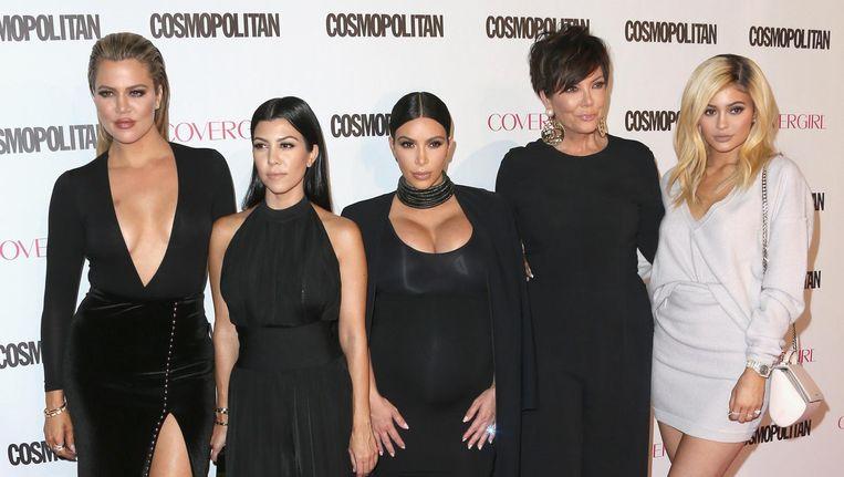 Khloe Kardashian, Kourtney Kardashian, Kim Kardashian, Kris Jenner en Kylie Jenner. Beeld null