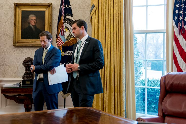 McEntee (r.) in het Oval Office in het Witte Huis.