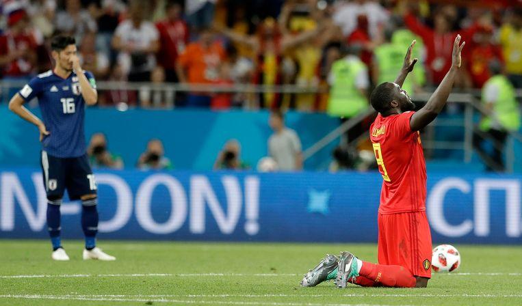 Romelu Lukaku van België na de winst tegen Japan. Beeld AP