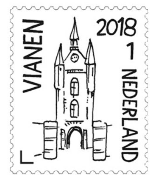 Een gewone postzegel (categorie 1) zoals deze kost dit jaar 83 cent.
