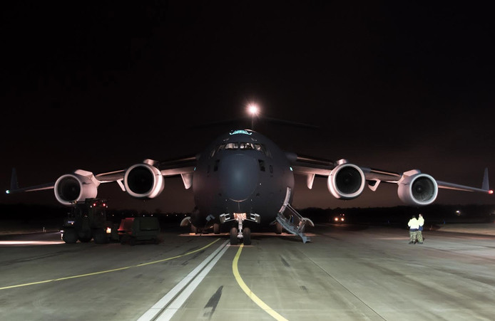 Aankomst C-17 uit Mali op vliegbasis Gilze Rijen vanochtend 06.40u.