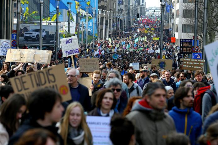 Manifestation pour le climat dans les rues de Bruxelles, le 31 mars 2019.