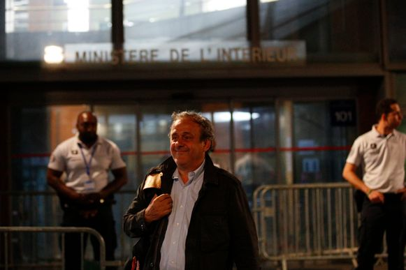 Michel Platini leaves the French police anti-corruption and financial crimes office in Nanterre, outside Paris, early Wednesday, June 19, 2019. Former UEFA president Michel Platini proclaimed his innocence during police questioning Tuesday following his arrest as part of a corruption probe into the vote that gave the 2022 World Cup to Qatar. (AP Photo/ Francois Mori)