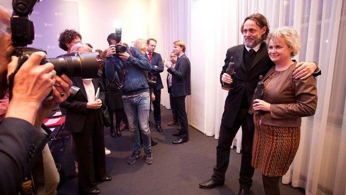 Carin Gaemers en Hugo Borst in Den Haag tijdens de uitreiking van de Machiavelliprijs