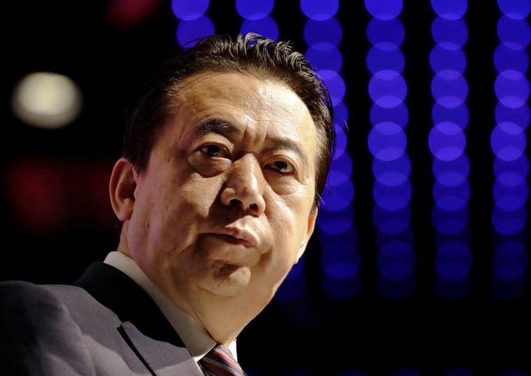 Meng Hongwei spreekt in 2017 op een congres van Interpol in Singapore. Hij was destijds een jaar president van de internationale politiedienst.  Beeld AP