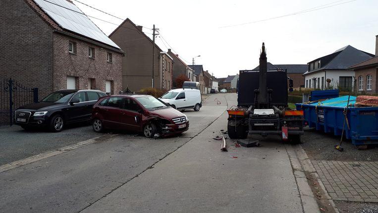 De man had de geparkeerde vrachtwagen te laat opgemerkt.