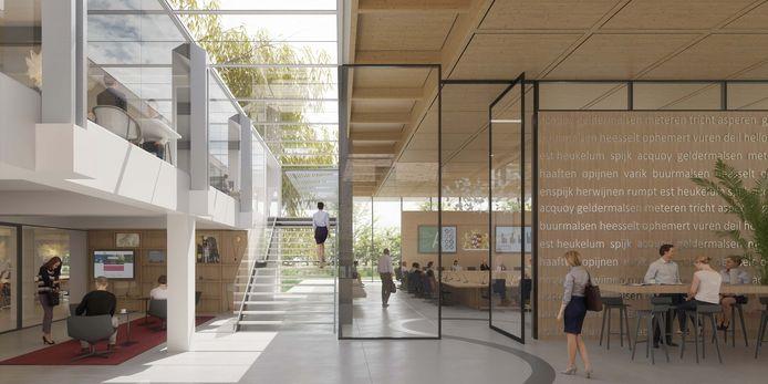 Het voorlopige ontwerp van het interieur van het gemeentehuis van West Betuwe in Geldermalsen