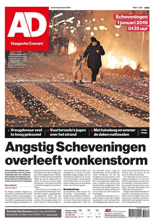 Voorpagina AD over Scheveningen.
