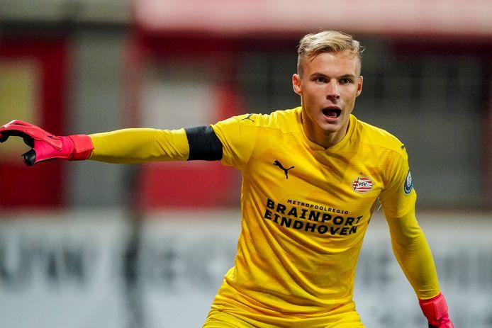Maxime Delanghe, het 19-jarige keeperstalent dat PSV momenteel opleidt voor een hoofdrol in de toekomst.