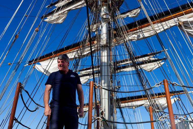 Kapitein Andi Manser van de Clipper Stad Amsterdam. Beeld Renate Beense