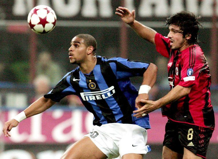 Adriano in de Milanese derby versus Gattuso.