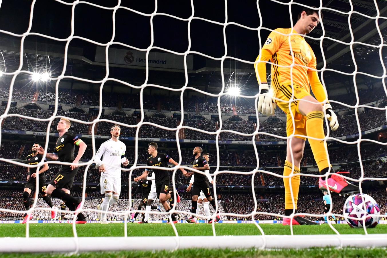 Kevin de Bruyne rent weg na zijn goal in Madrid.