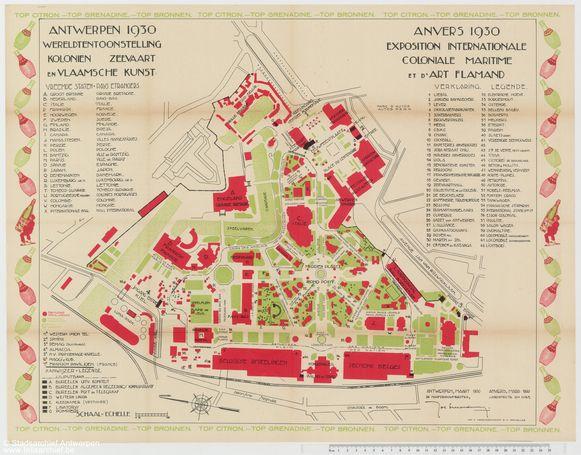 Grondplan van de wereldtentoonstelling van 1930 in Antwerpen.