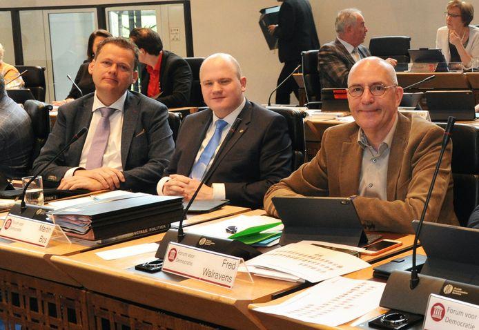 De Zeeuwse fractie van Forum voor Democratie, met (vlnr) Eelco van Hoecke, Martin Bos en Fred Walravens.