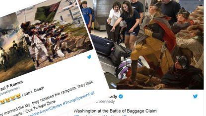 George Washington en de strijd om de luchthaven van LA: Trump mikpunt van parodieën na blunder tijdens speech op Independence Day