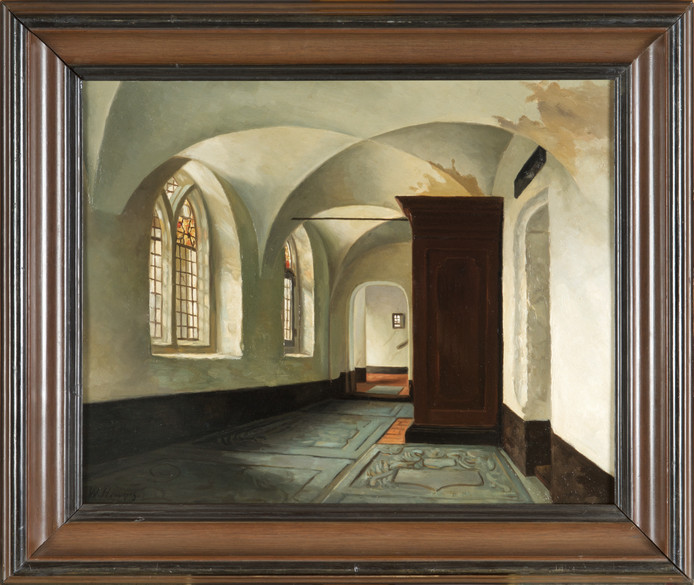Hendriks, Willem. Kloostergang in het Catherina Gasthuis in de Beekstraat in Arnhem. 1880 - 1900.