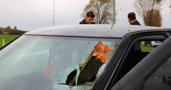 Stuk hout schiet door voorruit auto na ongeval Nijkerk; bestuurder aangehouden.