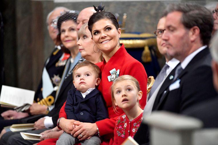 Kroonprinses Victoria met haar twee kinderen: Estelle en Oscar.