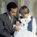 Ter gelegenheid van de doop op paleis Soestdijk van Bernardo Federico Thomas, het eerste kind van prinses Christina en Jorge Guillermo, 1977
