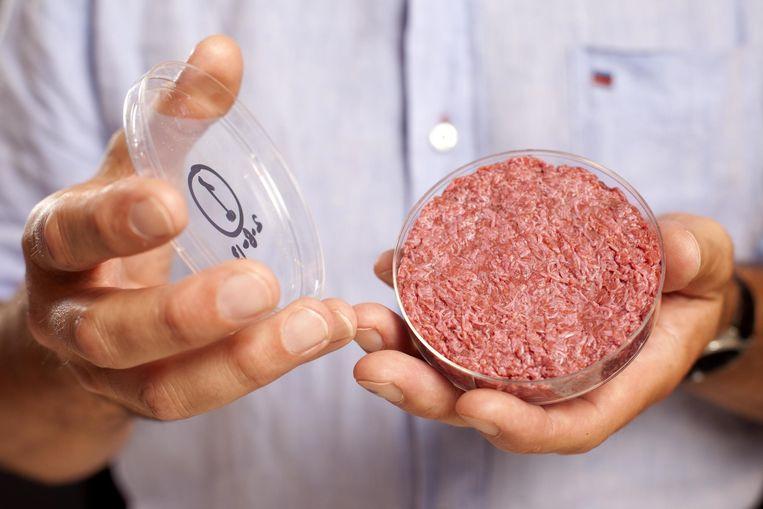 Kweekvlees uit een petrischaaltje.